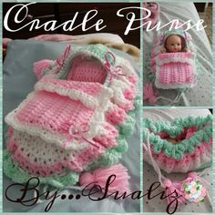 Crochet cradle purse for girls.