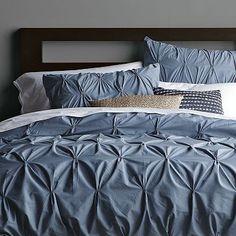 Organic Cotton Pintuck Duvet Cover + Shams - Steel Blue