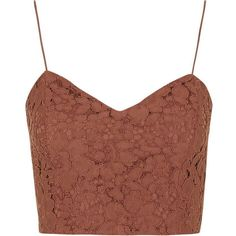 TopShop Sweetheart Neck Lace Bralet ($22) ❤ liked on Polyvore featuring tops, crop top, shirts, blusas, rust, strappy crop top, brown crop top, zip crop top and bralette crop top