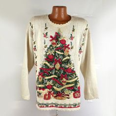 Ugly Christmas Sweater Vintage 1980s Tree  by purevintageclothing Holiday Party Tacky