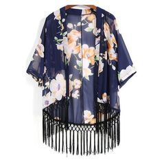 SheIn(sheinside) Blue Floral Loose Tassel Kimono ❤ liked on Polyvore featuring intimates, robes, floral robe, chiffon robe, loose kimono, blue kimono and chiffon kimono