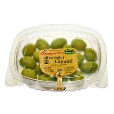 IT   OLIVE VERDI DOLCI GIGANTI: sono le più conosciute nel mondo. si trattano di olive greche lavorate secondo il metodo castel vetrano.  EN   GREEN GIANT SWEET CASTEL VETRANO GREEK OLIVES: the best-selling olives around the world. greek olives prepared with the castelvetrano method supreme unmatched taste.  http://www.ficacci.com/scheda.asp?id=381&idgamma=42&categ=prodotti