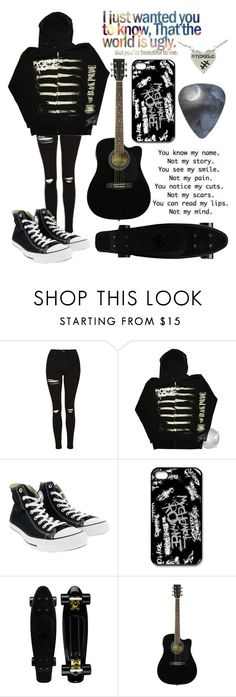 """""""The world is ugly"""" by musiclover135 ❤ liked on Polyvore featuring Topshop and Converse"""
