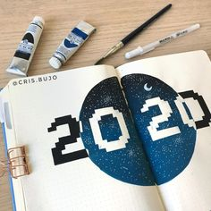 Christina used white space to help her 2020 cover page stand out in her 2020 Bullet Journal.   [photo credit: Christina (@cris.bujo)]
