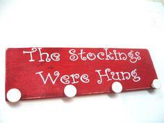 Rustic Christmas decoration. Wooden Stocking Hanger, Christmas home decor. Country Christmas decorations.. $37.00, via Etsy.