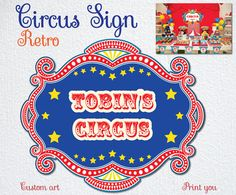 CIRCUS RETRO Vintage Sign Backdrop Digital by BolleBluParty