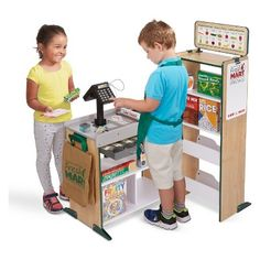 Melissa & Doug's Fresh Mart Grocery Store is the ultimate pretend play set! This sturdy set has everything you need to start your very own grocery store! Pretend Grocery Store, Card Machine, Play Money, Play Centre, Melissa & Doug, Play Food, Dramatic Play, Play Houses, Kids Playing