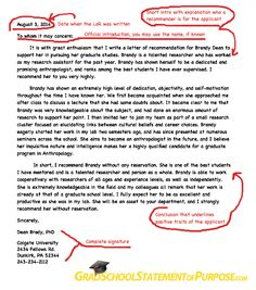 graduate school letter of recommendation format grad school statement of purpose