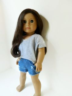American Girl Doll Clothes - Grey Lightweight Knit Poncho Tee Shirt