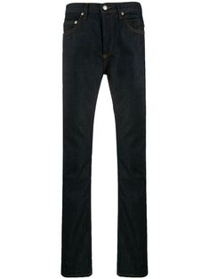 Blue cotton blend slim fit jeans from sandro paris featuring a waistband with belt loops, a button and zip fly, a five pocket design and a regular length. Sandro, Barbour International Jacket, Designer Clothes For Men, Designer Clothing, Clothes 2018, Printed Bomber Jacket, Hooded Raincoat, Paris, Outfit Designer