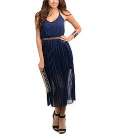 Look what I found on #zulily! Navy Pleated Sleeveless Belted Dress #zulilyfinds