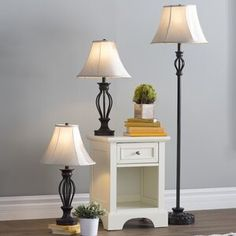 Three Posts Gambier 3 Piece Table and Floor Lamp Set Tree Floor Lamp, Floor Lamps, Torchiere Floor Lamp, End Tables With Storage, Bedroom Lamps, Bedroom Ideas, Table Lamp Sets, Side Chairs, Flooring