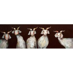 GreenBox Art '5 Goats on Chocolate Brown' by Eli Halpin Painting Print on Canvas