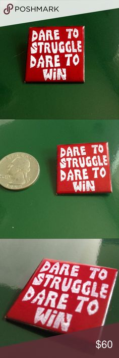 "Vintage Copper Enamel BPP Activist Pin Chicago political artifact. Authentic (my Mom was there) 1960's ""Dare to struggle, dare to win"" copper enamel pin. Slogan for many movers and shakers from the civil rights era; Students for a Democratic Society, Labor/ Union Movement and most famously of the Black Panther Party. Anti War, anti racism, anti gang, pro equality, decency, mobility and an engaged civitas, Fred Hampton led and fed Chicago's polit body to create a better social environment. Oh…"