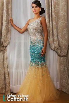 ... robe de soirée sans manche entièrement ornée de Swarovski, robe de