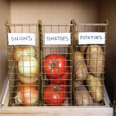 2. Use clear or wire file holders to house veggies that will otherwise run away from you. | 10 Creative Ways To Organize With Magazine Holders Around Your House