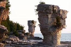 Bruce Peninsula National Park - Canadian Shield The 'Flowerpot' rock stacks Bruce Peninsula, Oh The Places You'll Go, Places To Visit, Flowerpot Island, Parcs Canada, Ontario Travel, Canada National Parks, Canada Travel, Get Outside