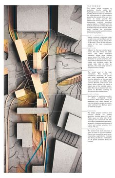 This plan model was done by WFSmith Architecture, again has annotations at the side explaining the details of what the final outcome might be, but the plan is a photograph of a model built taken from a bird's eye view, this method effectively allows viewers to understand the shadows and relationship of light to darkness in a plan.