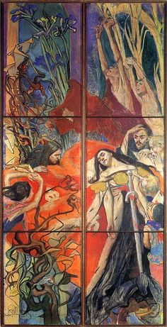 Polonia (part of a design of the stained glass window The Vows of King John Casimir for the cathedral in Lviv by Stanisław Wyspiański (Polish), pastel on canvas, genre: Art Nouveau, (PolishArt) Stained Glass Projects, Stained Glass Art, Stained Glass Windows, Art Nouveau, Glass Wall Art, Fantastic Art, Art World, Traditional Art, Les Oeuvres