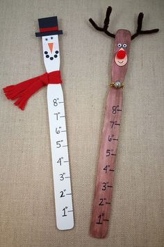 Snowman and Reindeer paint stick rulers! Kids can measure how much snow has fallen this winter!