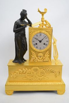 Wunderschöne feuervergoldete Empire Bronze Pendule Kaminuhr um 1810 Barret Je.