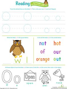 Worksheets: Get Ready for Reading: All About the Letter O