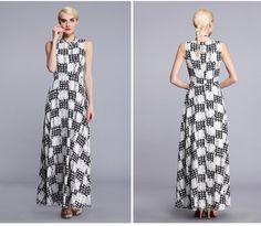 Super quality women long maxi printed chiffon summer dress 2015