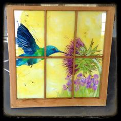 Cheerful bright reverse window painting by LookseesbyMel on Etsy, $165.00