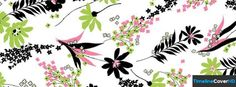 Green And Pink Floral Pattern Facebook Cover Timeline Banner For Fb13 Facebook Cover