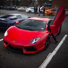 Lamborghini Aventador Coupe painted on Rosso Mars  Photo taken by: @izaacbrookphotos on Instagram