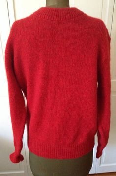 LL Bean Mens Red Ragg Wool Sweater 80s 90s by NorthCountryClassics, $42.00