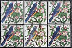 A set of six Victorian wall tiles, each tile decorated with a bird amongst foliage.