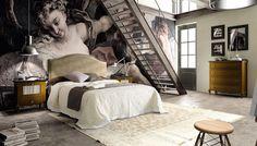 Dormitorio cabecero tapizado y mesitas en color nogal, mueble en madera maciza de pino seleccionado, compara y compralo en: http://www.rusticocolonial.es/
