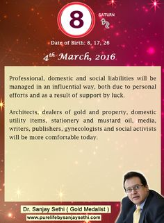 #Numerology predictions for 4th March'16 by Dr.Sanjay Sethi-Gold Medalist and World's No.1 #AstroNumerologist.