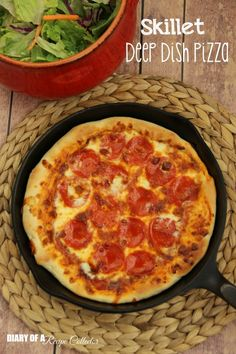 Skillet Deep Dish Pizza - Diary of a Recipe Collector