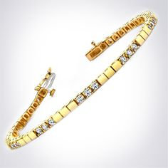 Yellow gold diamond tennis bracelet by HadarDiamonds.com . Available in yellow gold, white gold, and platinum with round brilliant diamonds.  #diamondbracelet