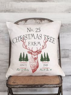 Christmas Tree Farm Pillow Cover >>>100% cotton front >>>burlap envelope style in back >>>cotton back available if preferred >>>18, 20, 22 sizes