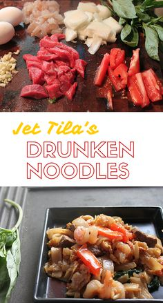 Here's a Jet Tila inspired easy drunken noodles recipe! Asian Recipes, Beef Recipes, Cooking Recipes, Asian Foods, Chinese Recipes, Chinese Food, Chef Jet Tila, Drunken Noodles, Kitchens