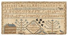 Ohio silk on linen sampler, dated 1836, wroug ht by Elisabeth A. Stocker, with alphabet over a house and trees, 8 3/4'' x 17''. Genealogical records indicated an Elisabeth Stocker was born in 1823, in Tuscarawas County : Lot 767
