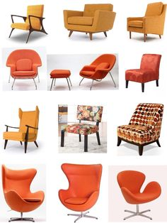 Orange Upholstered Chairs www.UpholsterEase.com