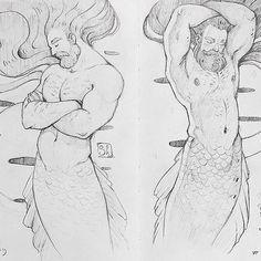 #iljashap #illustration #MerMay #mermaid #merman #fairytale #magic #moon #coral…