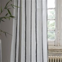 Continuing the success of our Brera Rigato linen stripes, this pure linen design is a wide pinstripe playing off against sophisticated neutral tones. Designers Guild, Fabric Design, Upholstery, Curtains, Pure Products, Essentials, Home Decor, Image, Black People