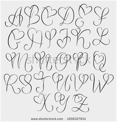 Hand drawn alphabet - calligraphy letters with heart curls - type . - Hand drawn alphabet – calligraphy letters with heart curls – typography and hand lettering - Tattoo Lettering Fonts, Hand Lettering Alphabet, Calligraphy Letters Alphabet, Cursive Fonts Alphabet, Doodle Lettering, Font Styles Alphabet, Typography Letters, Bullet Journal Fonts Hand Lettering, Writing Styles Fonts
