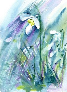 Snowdrops - Watercolour painting of snowdrops, Snowdrop painting, Winter Flowers, Floral Wall Art, Flower Painting Watercolour by Anjana Cawdell Watercolor Plants, Watercolor Walls, Pastel Watercolor, Watercolour Painting, Painting Flowers, Keramik Vase, Winter Painting, Winter Flowers, Alcohol Ink Art