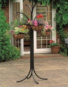 Garden Plant Stand Balcony Planters Patio Store Basket Planters Outdoor Hanging