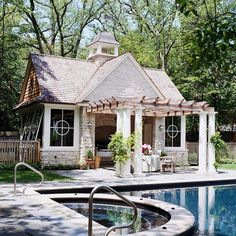 Enclosed Garden Structures: Pergolas, Pavilions, Sheds, and More An enclosed pergola, pavilion.a private retreat Classic Pergola Outside Living, Outdoor Living Areas, Outdoor Rooms, Pool Cabana, My Pool, Porches, Garden Structures, Outdoor Structures, Attached Pergola