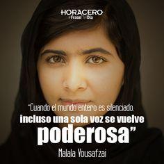 """""""Cuando el mundo entero es silenciado, incluso una sola voz se vuelve poderosa"""" Malala Yousafzai #Frases #FraseDelDía"""