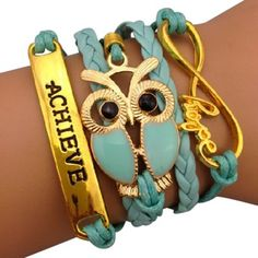 Light Blue Owl and Achieve Charm Arm Party Bracelet - $14.00