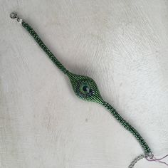 All Seeing Eye Bracelet Miyuki beads delica beaded by ThReAdTeDs on Etsy