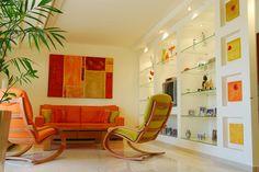 contemporary living room with orange accents by paissin-dome Cozy Living Rooms, Home Living Room, Living Room Designs, Living Spaces, Living Room Orange, Design Salon, Dining Room Colors, Home Interior Design, Rv Interior